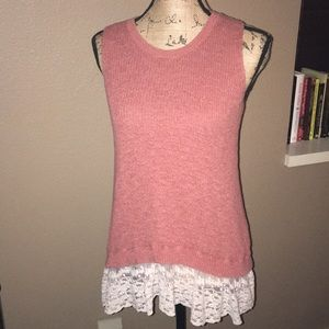 Tank Top with a Lace-Like Trim